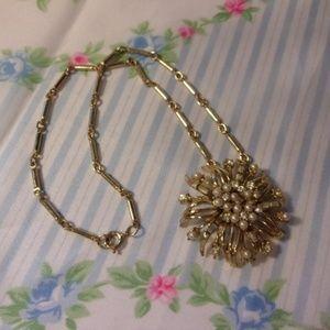 Vtg Coro Rhinestone Faux Pearl Flower Necklace
